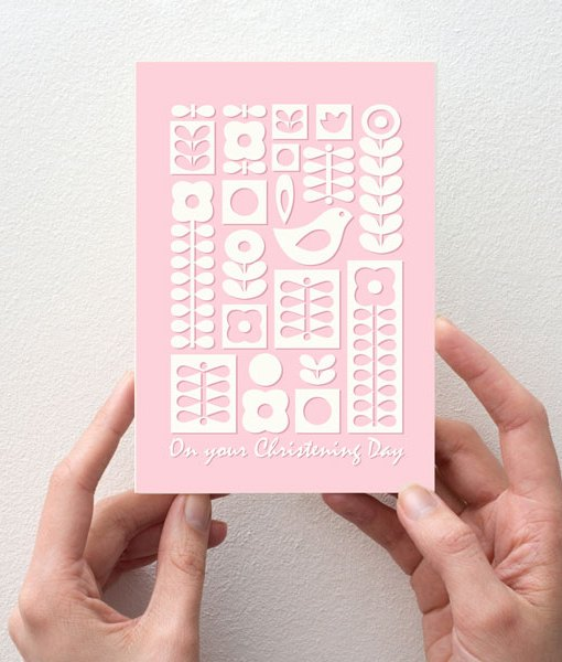 Christening Day card pink
