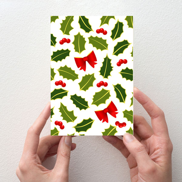 Holly leafs greeting card