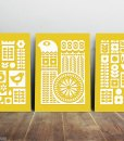 Scandinavian ornament set yellow