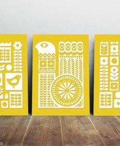 Scandinavian ornament set yellow