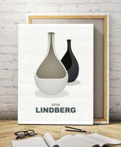 Lindberg vases canvas print light
