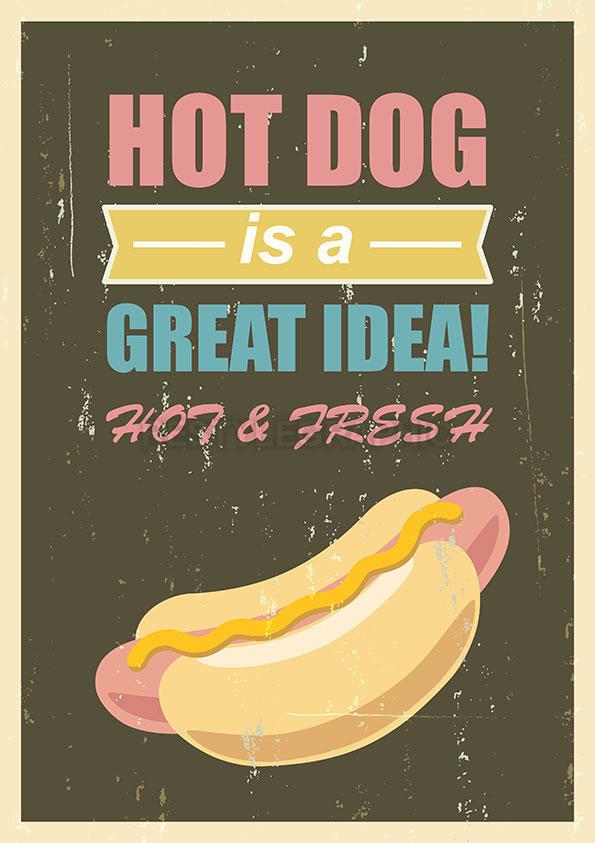 Hot dog retro poster