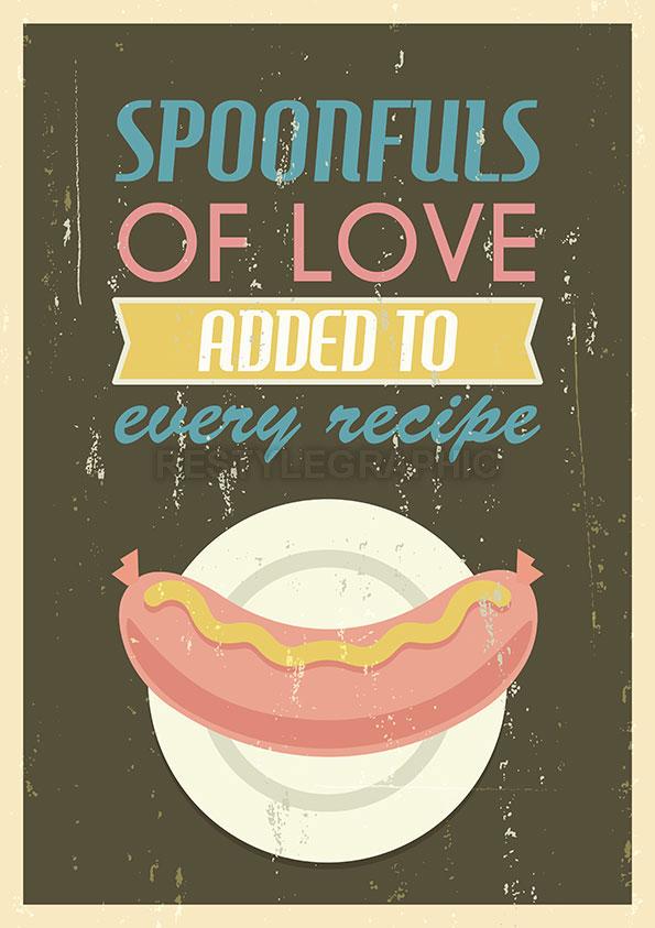 American food retro poster