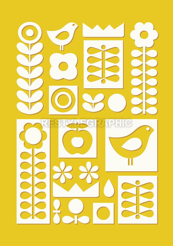 Scandinavian ornament print for nursery