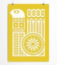 Bird ornament poster yellow