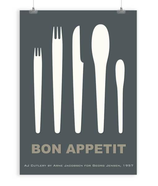 Cutlery by Arne Jacobsen art print dark