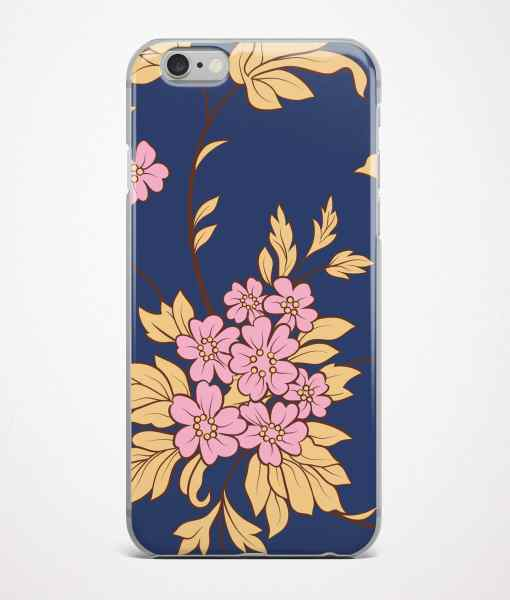Navy blue flowers phone case front