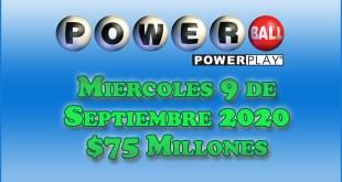 Resultados Powerball 9 de Septiembre del 2020 $75 Millones de dolares