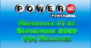 Resultados Powerball 16 de Septiembre del 2020 $94 Millones de dolares