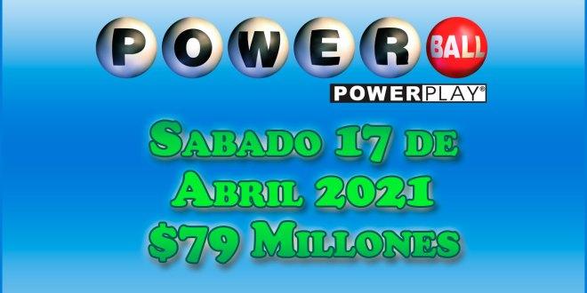 Resultados Powerball 17 de Abril del 2021 $79 Millones de dolares
