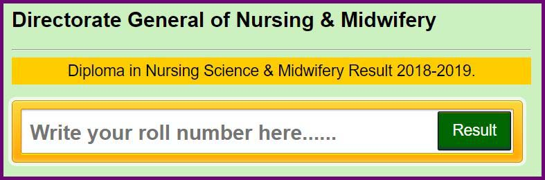diploma in nursing science and midwifery result