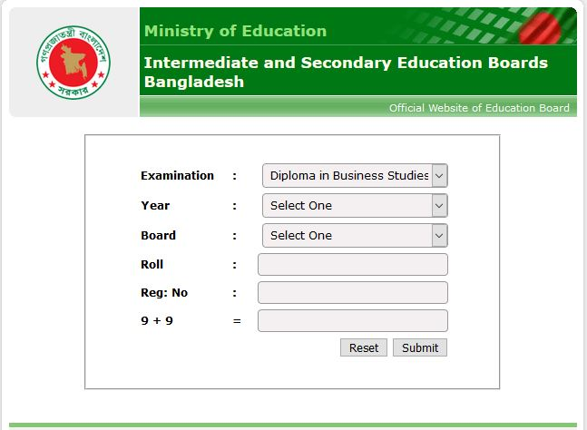 Diploma In business Studies Result