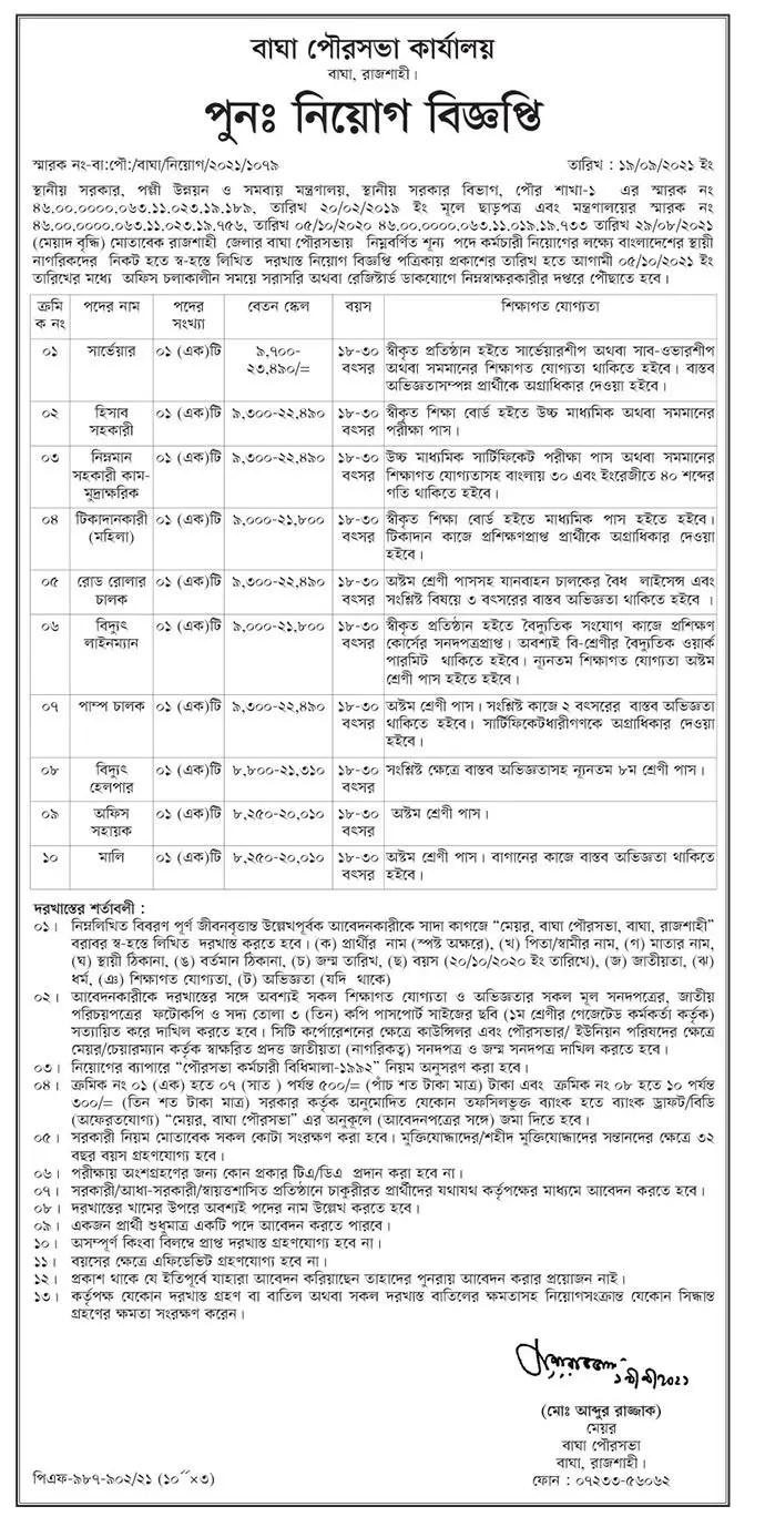 Municipality Office Job Circular 2021