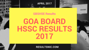 GOA Board HSSC Results 2017