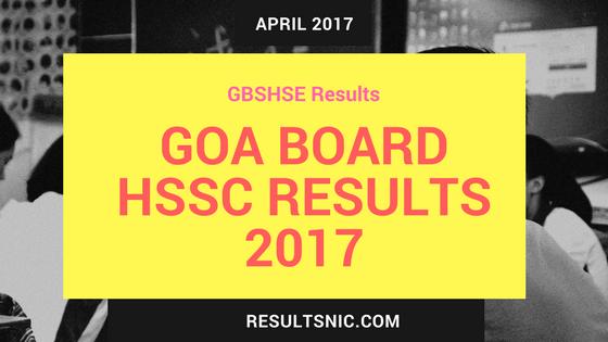 GOA Board HSSC Results 2017