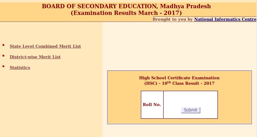 Madhya Pradesh (HSC) - 10th Class Result - 2017