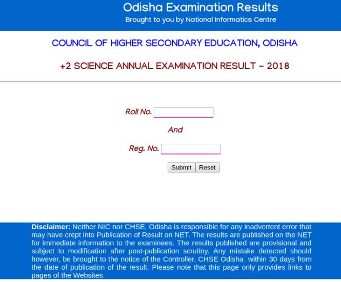 CHSE +2 Science Result 2018 Website