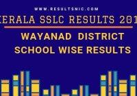 Kerala SSLC School Wise results Wayanad District 2019