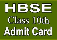 hbse 10th admit card 2020