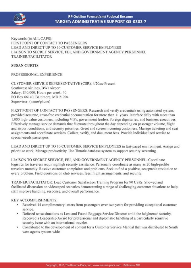 Federal Resume Samples Place