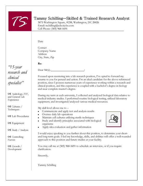 Research Cover Letter Example