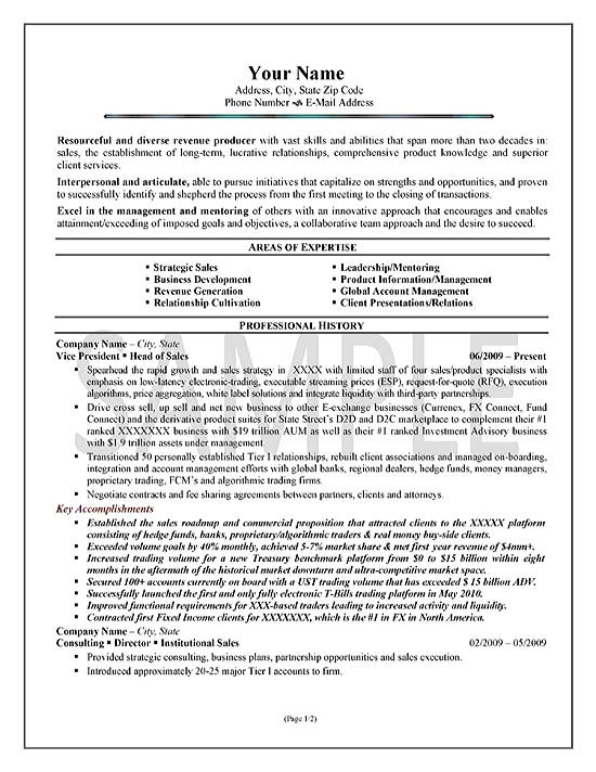 resume areas of expertise