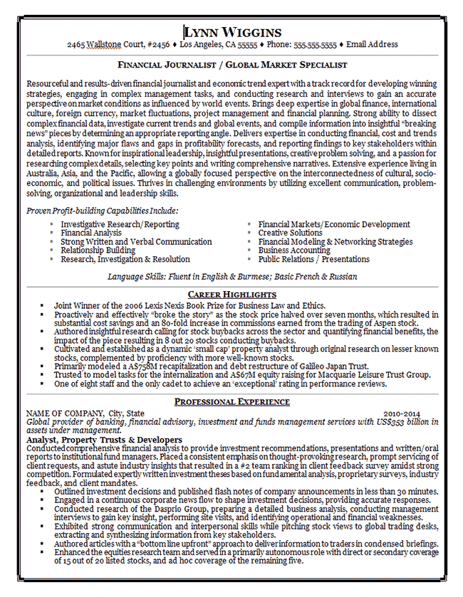 Journalist Resume Example Journalism Media