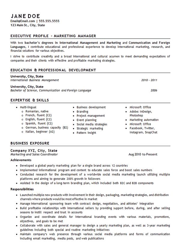 International Marketing Manager Resume