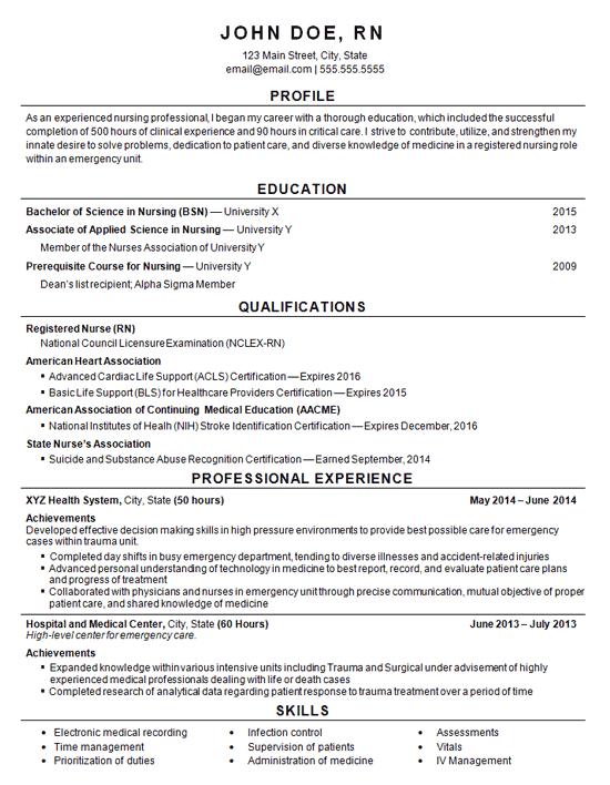 Registered Nurse Resume Example Entry