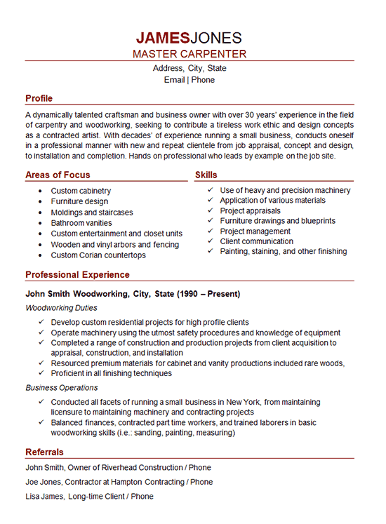 carpenter job description resume
