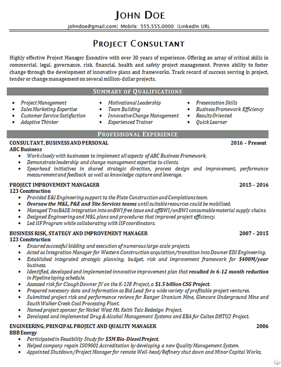 Project Management Consultant Resume - Resume Sample