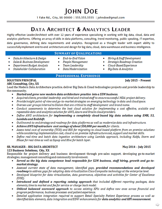 Every college grad should possess these tech skills. Data Architect Resume Example Data Analytics It Consultant