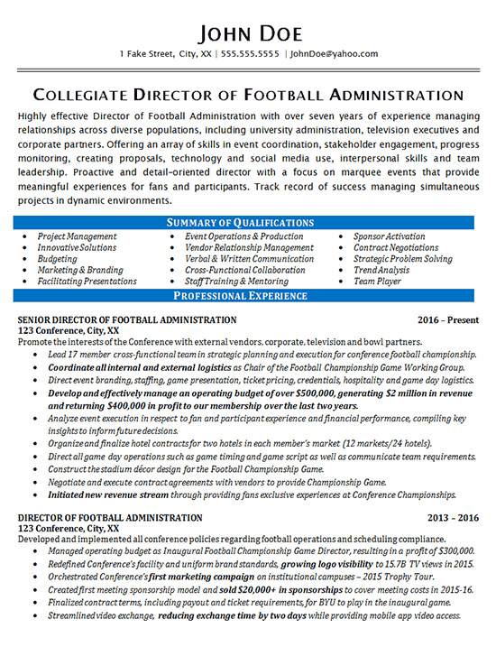 It is mostly demanded by embassies along with visa applications as well as by companies with job applications. Athletic Director Resume Example - Football - Sports