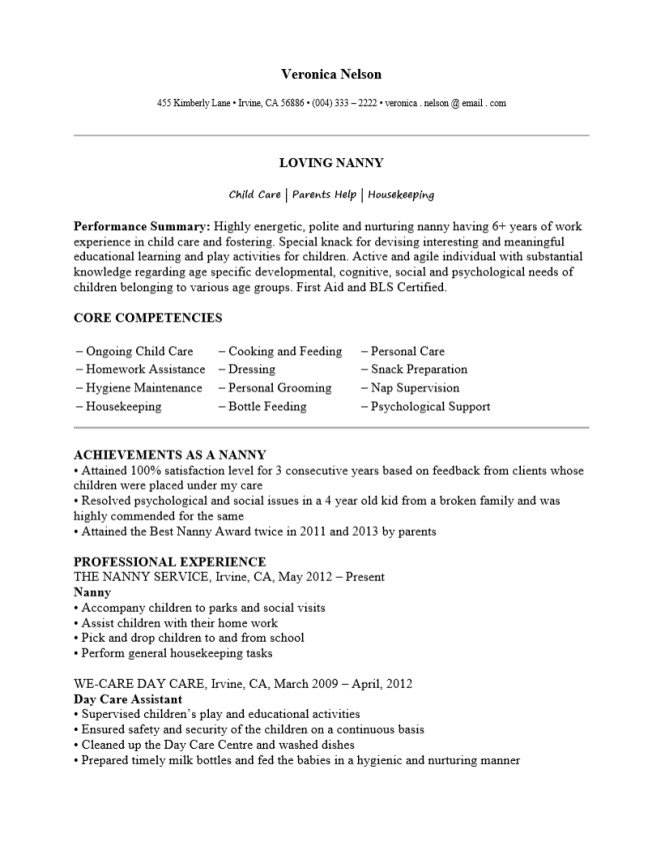 free professional nanny resume template sample ms word - Nanny Resume Examples