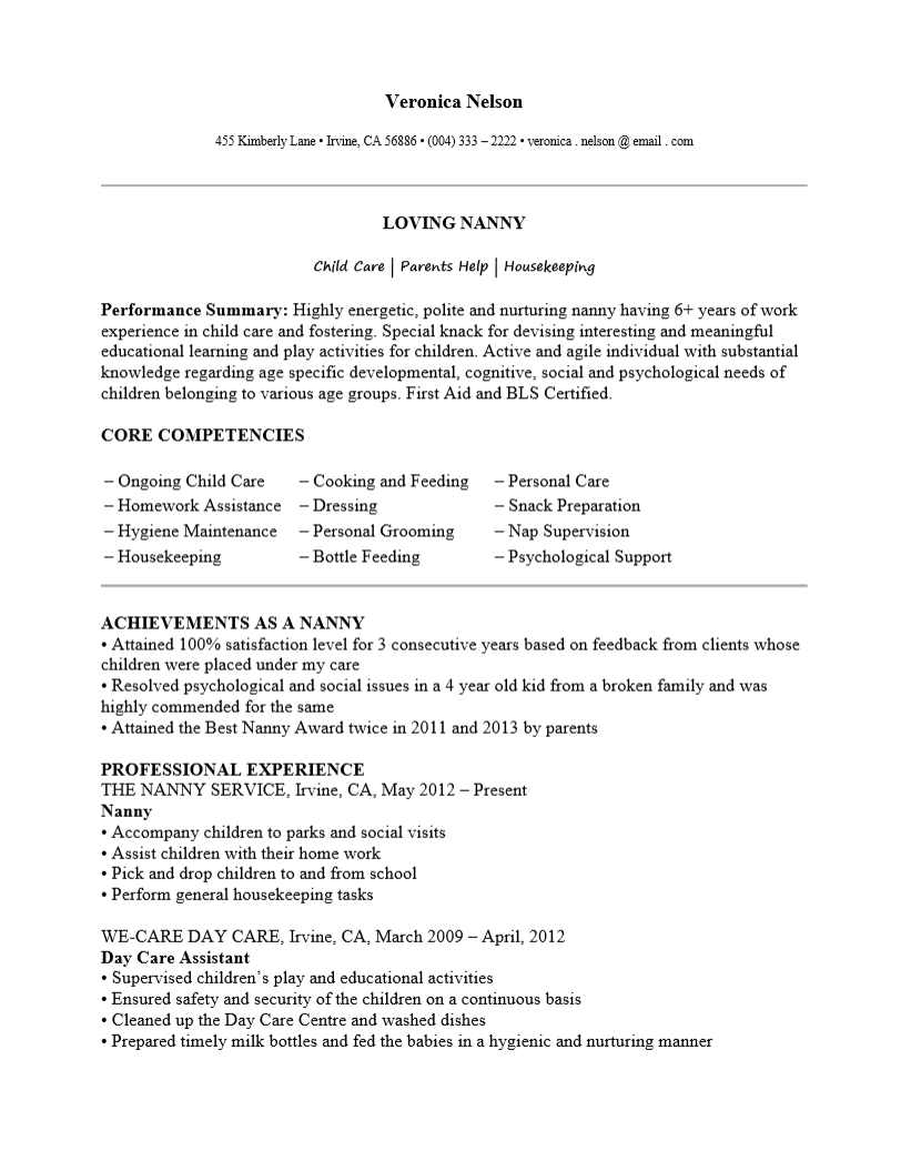 Free Professional Nanny Resume Template Sample Ms Word  Nanny Resume Samples