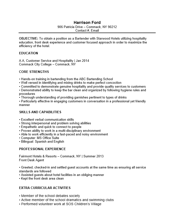 sle resume for restaurant server servers resume sle
