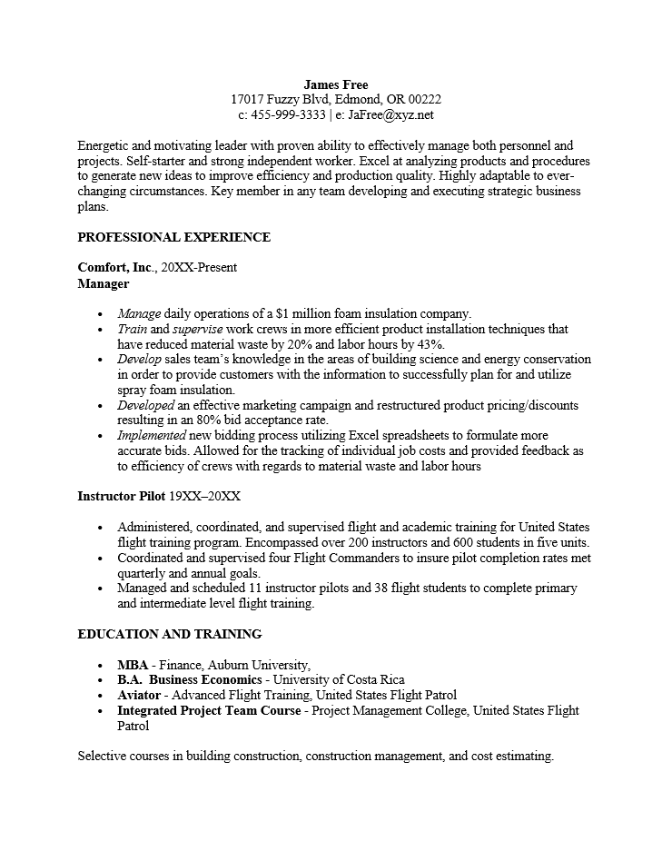 Free Chronological Resume Template Examples Ms Word  Reverse Chronological Resume Template