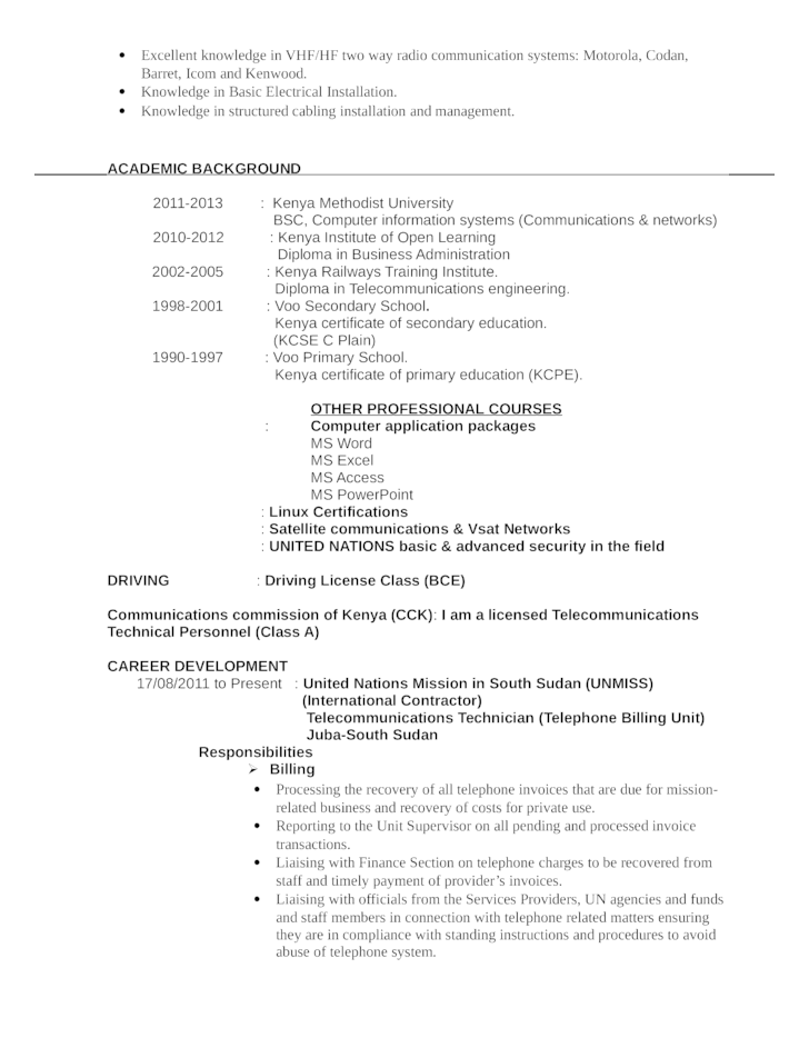 Business Telecommunications Technician Resume Template Page 2