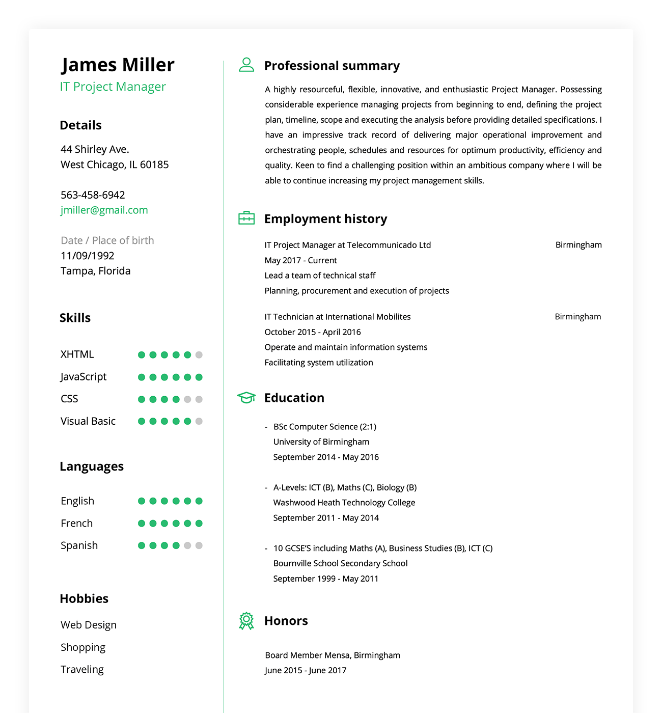Then you can email or print your well designed resume with a press o… 1 Free Online Resume Builder Make A Professional Resume In 5 Minutes Resumebuild
