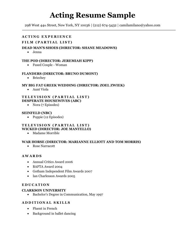 Acting Resume Sample & Writing Tips  Resume Companion