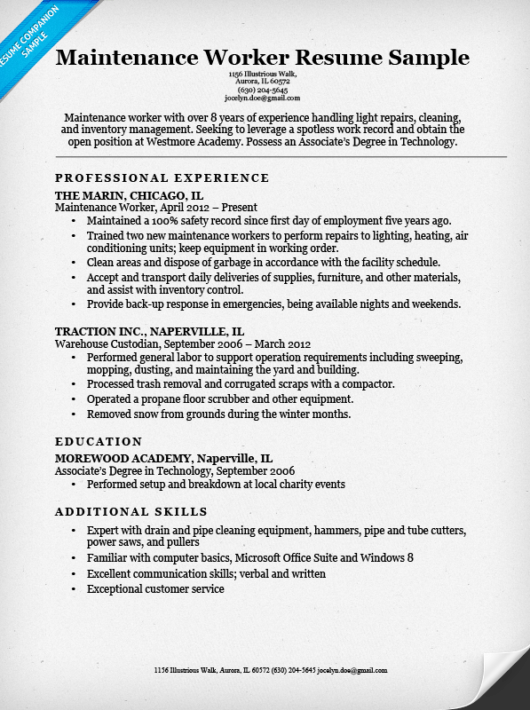 Warehouse Worker Resume Sample Companion  General Warehouse Worker Resume