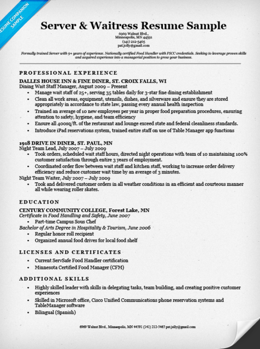 Server Waitress Resume Sample Companion  Sample Waitress Resume