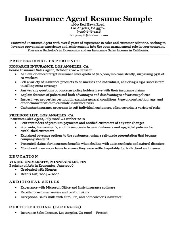 insurance resume