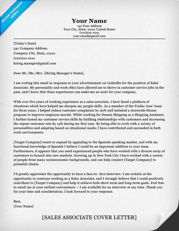 Sales Associate Cover Letter Sample Resume Companion