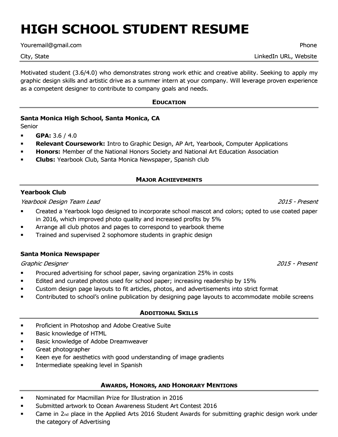 High School Resume Template Amp Writing Tips