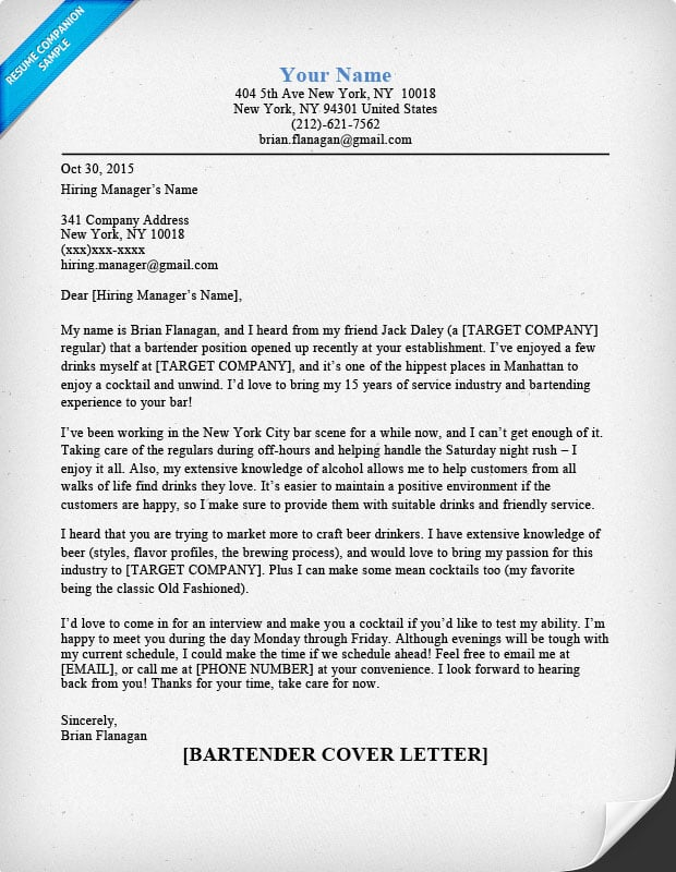 Sle Bartender Cover Letter No Experience Resume Templates Summary In Exles Template Creative Letters S