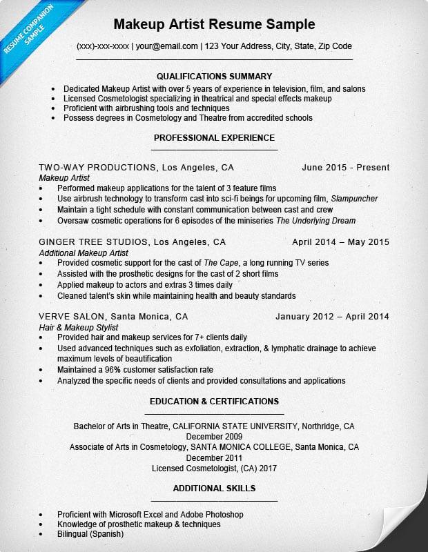 Resume Format For Makeup Artist Jidimakeup Com