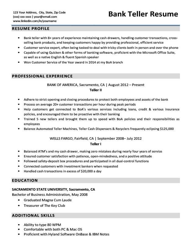 Sample Resume Bank Teller Position