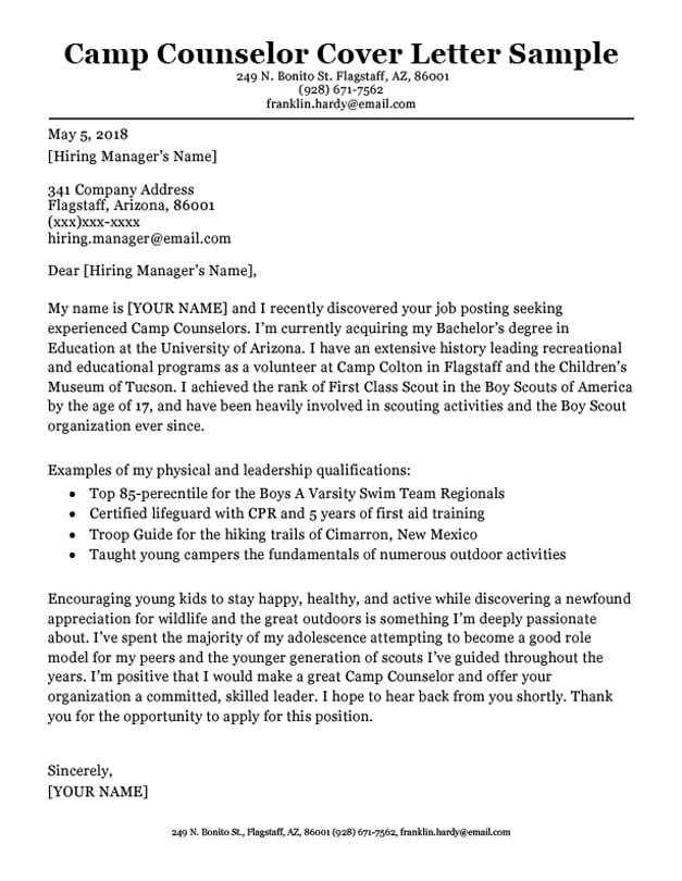 cover letter camp counselor | mamiihondenk.org