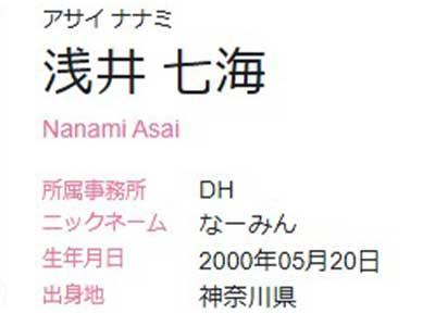 浅井七海 プロフィール